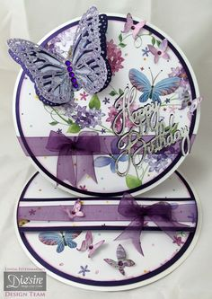 Linda Fitzsimmons - Butterfly Lullaby – Butterfly Dance, Happy Birthday and Flit & Flutter. Papers from Butterfly Lullaby 12x12 pad - Double sided Centura Pearl Deep Purple - Stick-it, Collall All Purpose glue, 3D Glue Gel, Tacky Glue. Glitter, gems, Mirri card and Ribbon. #crafterscompanion