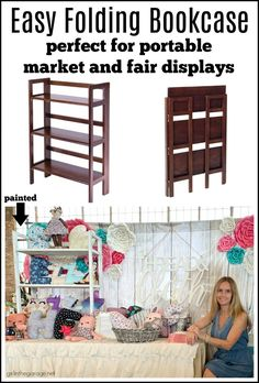 Easy folding bookcase - Perfect for portable displays at markets and craft fairs - Display ideas by Girl in the Garage Craft Show Displays, Craft Show Booths, Vendor Displays, Market Displays, Craft Show Ideas, Display Ideas, Booth Ideas, Display Boards, Teardrop Trailer
