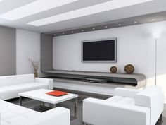 Clean Modern living rooms and technology for it.