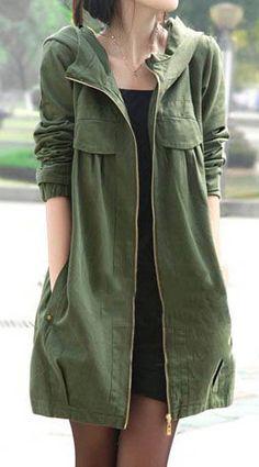 Army Green Zipper Up Hooded Collar Pocket Coat.
