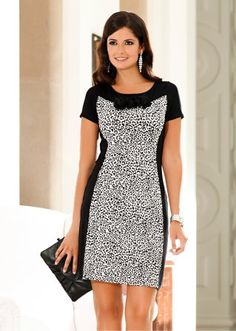 BODYFLIRT black/white viscose dress
