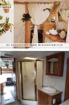 This bohemian wheel is a botanical wonderland! Tiny House Living, Rv Living, Apartment Living, Airstream Interior, Vintage Airstream, Vintage Campers, Travel Trailer Decor, Rv Bathroom, Rv Homes