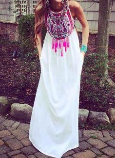 »Ethnic Style Round Collar Sleeveless Printed Women's Dress« #fashion #fashionandaccessories #dress #twinkledeals