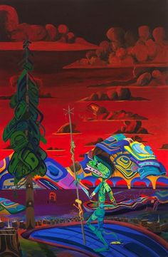 Clearcut to the Last Old Growth Tree by Lawrence Paul Yuxweluptun, Coast Salish artist. Audain Art Museum, Whistler, BC