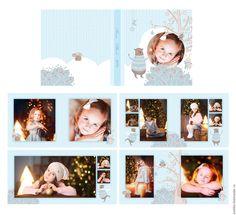 "Купить Шаблон для фотокниги ""Новогодний"" - голубой, фотокнига, шаблон, иллюстрации, новый год 2016, Новый Год"