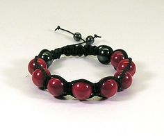 Macrame Bracelet Black with Red Fire and Hematite Beads | HCLTreasures - Jewelry on ArtFire