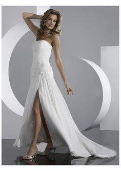 Chiffon lace-up closure strapless wedding dresses