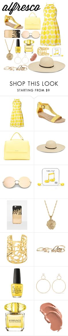 """alfresco contest"" by yn-vlk ❤ liked on Polyvore featuring Dorothy Perkins, Kenneth Cole Reaction, Orciani, Happy Plugs, Missguided, 2028, GUESS, OPI, Natasha Schweitzer and Versace"