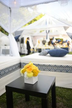Modern & Preppy Blue, Yellow and White Wedding | real wedding inspiration from Event Essentials Hawaii via AislePlanner.com