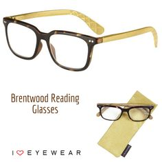 """Go bold with our gold Brentwood reading glasses! Available in 1/4 powers from  0.75 to  3.00,  3.50,  4.0. Order the """"no power"""" option to receive your frames with demo lenses ready to fit with your prescription! Color options: gold, black and green."""