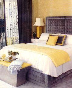 grey & yellow bedroom