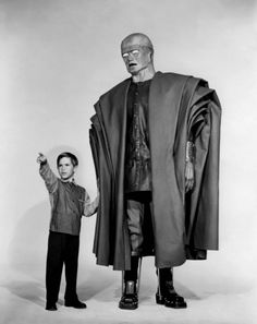 "A publicity still from the 1958 film The Colossus of New York, with Charles Herbert as ""Billy"" and Ed Wolff as The Colossus)"