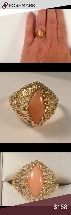 14 kt YG ring with marquis coral made by me NWT 14kt yellow gold unique statement ring handcrafted by me and set with a marquis pink/peach coral. Made in my studio, it's very high quality and weighs almost 4 grams. I can size it up or down 2 sizes for free. Jewelry Rings