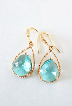 Aquamarine Glass Teardrop Earrings Gold, gifts for her, wedding, Champagne Bridal Bridesmaid necklaces, Gold Bridesmaids, by GlitzAndLove, www.glitzandlove.com