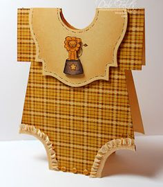 Previous Pinner Wrote:adorable onesie in kraft and plaid with a bib, tiny buttons and ruffled ribbon ...blogger shares her technique and template for this...