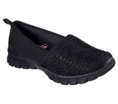 Style and comfort fit for royalty comes in the SKECHERS EZ Flex - Duchess shoe. Soft woven eyelet fabric, mesh fabric and suede upper in a slip on sporty casual sneaker with stitching and overlay accents. Black Queen, Casual Sneakers, Casual Shoes, Skechers Elite, Black Bob, Shoe Deals, Designer Shoes, Amazing Women, Slippers