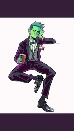 "Prom Beast Boy By @picolo_ on Instagram ""I once wore a tie with a splash of purple and you guys called me ""Mister Grapes"" for two years!"""