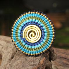 Funky woven cotton and shaped brass ring by cafeandshiraz on Etsy