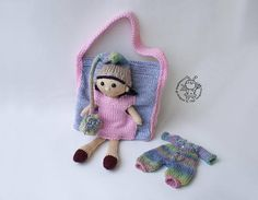 Doll Iris and a handbag for dolls  knitting pattern knitted