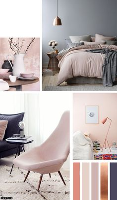 Colorboost: poeder roze met een stoere toevoeging Colorboost: a color palette for your interior with powder pink and bronze – Roomed Living Room Color Schemes, Paint Colors For Living Room, Home Bedroom, Bedroom Decor, Master Bedroom, Bedroom Ideas, Bedroom Curtains, Best Bedroom Colors, Room Interior