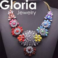 Caliente venta Shouroulk diseño vintage collar flor del arco iris collar llamativo collar pendiente elegante za collar venta al por mayor