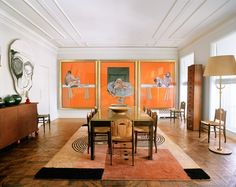 Terry de Gunzberg, Manhattan -  The dining room, with Francis Bacon's Studies From the Human Body: A Triptych, 1979; Emile-Jacques Ruhlmann's 1930s dining chairs; Ivan de Silva Bruhns's 1930s carpet; Jean Dunand's 1920s sideboard. Photography by François Halard