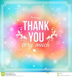 Thank You Card On Soft Colorful Background. Royalty Free Stock ...