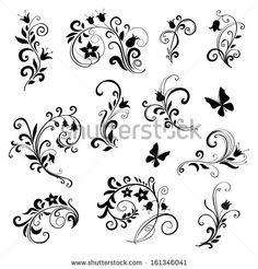 floral ornament elements collection isolated on white