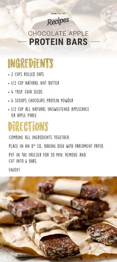 Chocolate Protein Bar Recipe (nut means peanut butter)