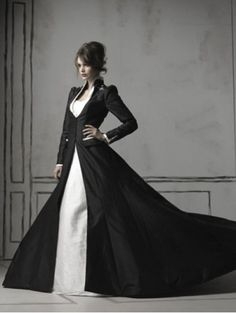 Black and White Long Sleeves Gothic Wedding Dress coat. Could wear into the ball and then take off for dress underneath