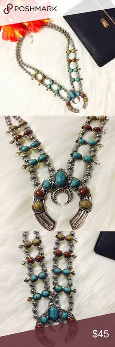 """SALE Antique Silver Multi Color Squash Blossom Beautiful Squash Blossom Double Strand Antique Silver Navajo Statement Necklace. Complete Your Bohemian Look With This Gorgeous Piece!! Brand New Boutique Item. Has Extender To Adjust The Length. Pendant Is Approx 3"""" Boutique Jewelry Necklaces"""