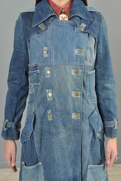 1-Of-A-Kind 1970s Custom Lee Patchwork + Pocket Denim Coat