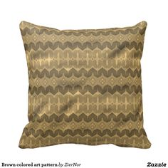 Brown colored art pattern throw pillow