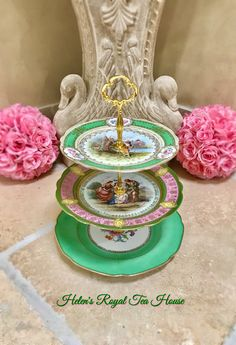 Your place to buy and sell all things handmade Tiered Cake Stands, Tiered Stand, Tiered Cakes, Dessert Aux Fruits, New China, Royal Tea, Pecan Nuts, Tea Pot Set, Dried Fruit