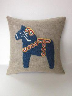 Blue Wool Dala Horse Pillow - Hooked Rug