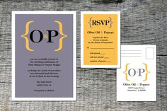 "Beautiful Typography Wedding Invitation and RSVP Set DIY Printable - ""Bracket Design"". $35.00, via Etsy."