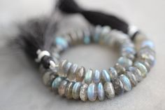 Labradorite, 8mm, German Cut, 8 inch Strand, Grey, Flashy Blue, Gemstone, Smooth, Beads by StoneCreekSurplus on Etsy