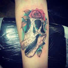 Dinosaur tattoo Dinosaur Tattoos, Tattoo Portfolio, Skull, Skulls, Sugar Skull