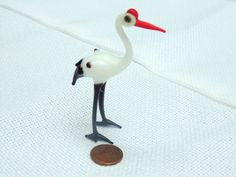 vintage. Murano Glass. Art Glass. Miniature Bird. Glass Bird. Stork. White Bird by OurVintageHouse on Etsy