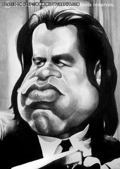 John Travolta, done by jmborot, printed at wittygraphy Funny Caricatures, Celebrity Caricatures, Hulk Vs Superman, Black And White Cartoon, Pulp Fiction Art, Caricature Drawing, Wtf Face, John Travolta, The Best Films