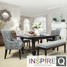 Inspire Q Vinemont Rustic Driftwood Rectangular Extending Dining Table