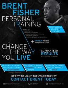 Personal Trainer flyer: Fitness by Fish, Brent Fisher Personal Training; by Kaitlyn Cook