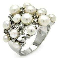 Sterling Silver Pearl Cubic Zirconia Birthstone Right Hand Ring (16.7 mm) Sea of Diamonds. $65.00