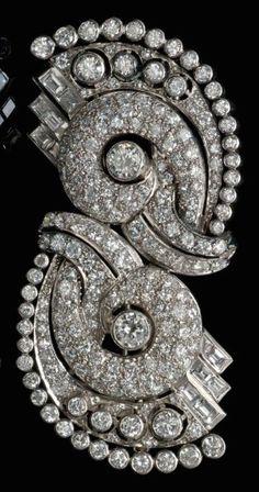 A Pair of Platinum and Diamond Dress Clips, Circa 1935,