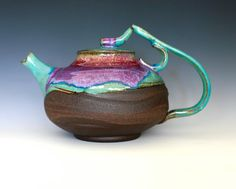I love these colors! Takara, Treasure Teapot, Handmade Stoneware Teapot, Large Ceramic Teapot