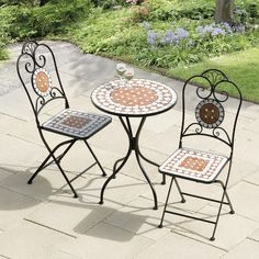 Awesome Outdoor Bistro Set Design With Diamond Mosaic Motive Theme Combined Dark Iron Frame Also Rounded Coffee Table Unify Claws Base Legs Ideas. : garden furniture mosaic table set - pezcame.com