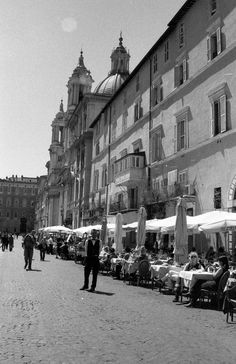 Piazza in Rome Italy Black and White 35mm Film by EnNoirEtBlanc