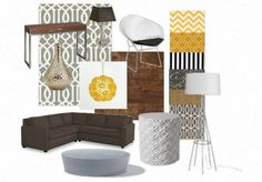 Yellow & Grey Living Room  You could go this direction too, with yellow. All of this goes with your cool, new lighting fixture.