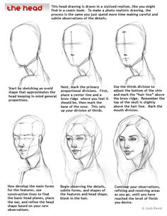 Figure Drawing Tutorial - How to Draw a Face : Here's a simple way to place the features accurately when drawing a head. First draw a vertical line down the middle of the face. Then draw a horizontal line halfway Drawing Skills, Drawing Lessons, Drawing Techniques, Drawing Sketches, Art Drawings, Pencil Drawings, Wolf Drawings, Body Sketches, Poses References