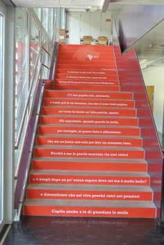 Stair graphic application at a Swiss University using our product TexWalk